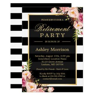 Elegantt blom- party för pension för 12,7 x 17,8 cm inbjudningskort