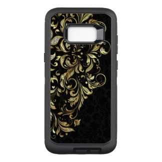 Elegantt blom- snöre för svart guld- glitter OtterBox defender samsung galaxy s8+ skal