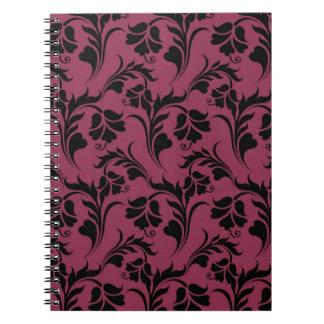 Elegantt blommamönster anteckningsbok med spiral