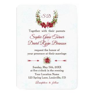 Elegantt bröllop för julstjärnavinterkran 12,7 x 17,8 cm inbjudningskort