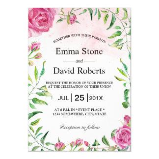 Elegantt bröllop för vattenfärgblommigtträdgård 12,7 x 17,8 cm inbjudningskort