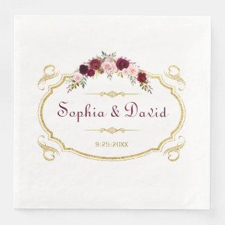 Elegantt Burgundy Marsala blom- nedgångbröllop Papper Servett