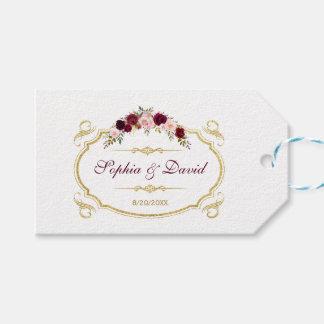 Elegantt Burgundy Marsala blom- nedgångbröllop Presentetikett
