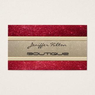 Elegantt chic lyxigt samtidat guld/rött glittery visitkort