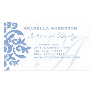 Elegantt damastast brev A för blått och för vit Set Av Standard Visitkort