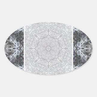 Elegantt dekorativt rundamönster. Anpassningsbar Ovalt Klistermärke