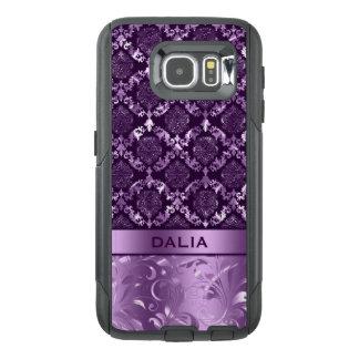 Elegantt djupt - purpurfärgad blom- damastast OtterBox samsung galaxy s6 skal