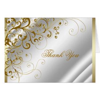 Elegantt elfenben och guld virvlar runt tack OBS kort