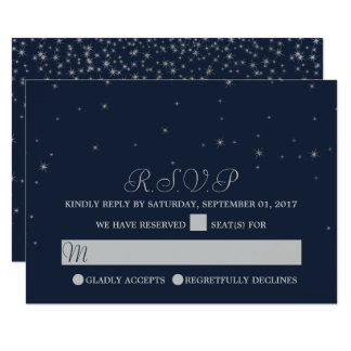 Elegantt fallande stjärnabröllop OSA för marin & 8,9 X 12,7 Cm Inbjudningskort