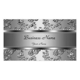 Elegantt flott silver utföra i relief blom- Look Set Av Standard Visitkort