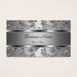 Elegantt flott silver utföra i relief blom- Look Visitkort