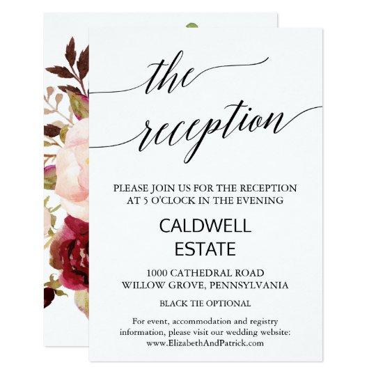 Elegantt för blommigtbaksida för Calligraphy | 8,9 X 12,7 Cm Inbjudningskort