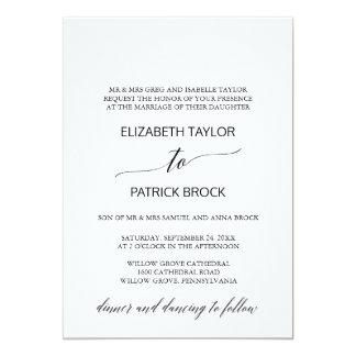 Elegantt formellt bröllop för vit- och 12,7 x 17,8 cm inbjudningskort
