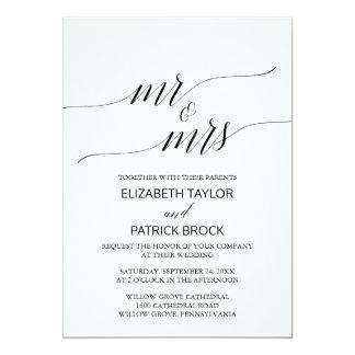 """Elegantt Fru för vitsvartCalligraphy """"Herr &"""" 12,7 X 17,8 Cm Inbjudningskort"""