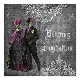 Elegantt gotiskt gifta sig för brud- brudgumskel anpassningsbara tillkännagivanden