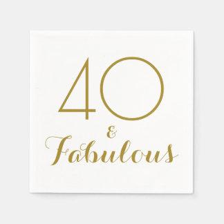 Elegantt guld 40 och sagolika partyservetter servetter