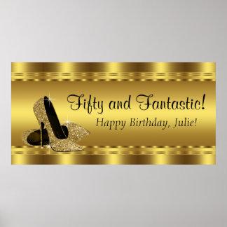 Elegantt guld- baner för kickhälfödelsedagsfest poster