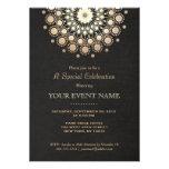 Elegantt guld cirklar svart den formella anpassade inbjudningskort