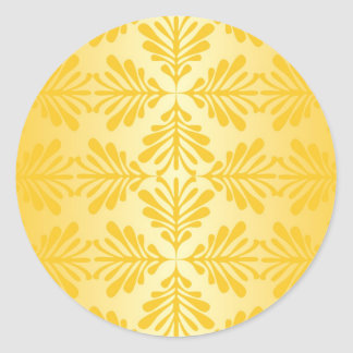 Elegantt guld- damastast mönster runt klistermärke