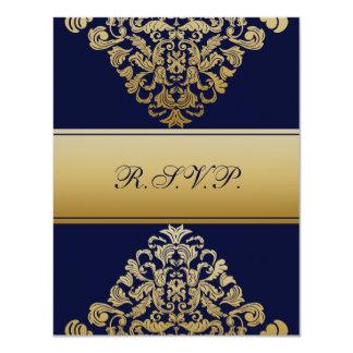 """elegantt guld- """"marinblått"""" bröllop OSA 10,8 X 14 Cm Inbjudningskort"""