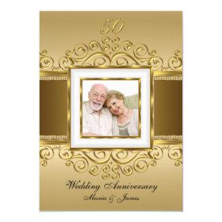 Elegantt guld & pärlan virvlar runt årsdag för 12,7 x 17,8 cm inbjudningskort