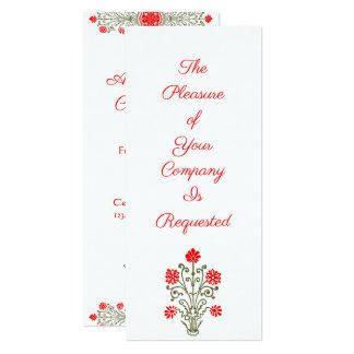 Elegantt guld & röda blom- 10,2 x 23,5 cm inbjudningskort