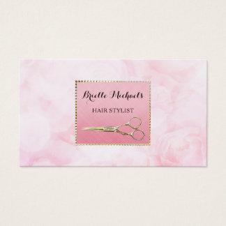 Elegantt guld Scissors den chic rosa blom- Visitkort