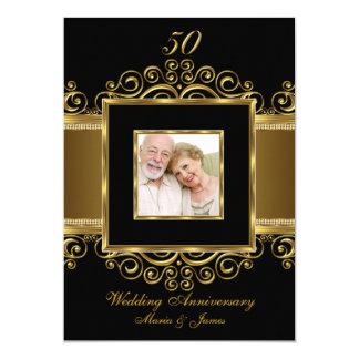 Elegantt guld & svarten virvlar runt årsdag för 12,7 x 17,8 cm inbjudningskort