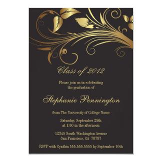 Elegantt guld virvlar runt studentfestmeddelande 12,7 x 17,8 cm inbjudningskort