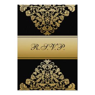 elegantt guldsvartbröllop OSA standarda 3,5 x 5 8,9 X 12,7 Cm Inbjudningskort