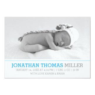Elegantt kort för foto för babyfödelsemeddelande 12,7 x 17,8 cm inbjudningskort