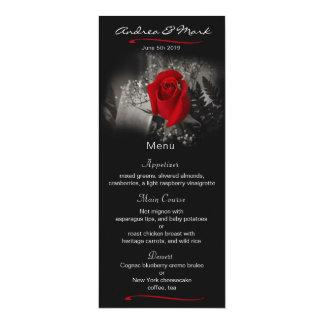 Elegantt kort för meny för röd 10,2 x 23,5 cm inbjudningskort