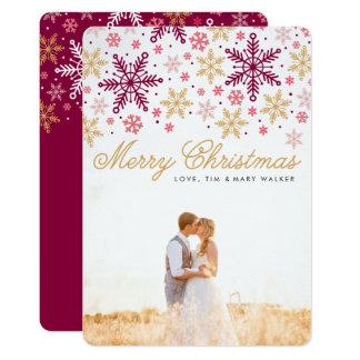 Elegantt kort för snöflingorgod julfoto 12,7 x 17,8 cm inbjudningskort