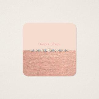 Elegantt lyxigt enkelt, diamanter, pärlor fyrkantigt visitkort