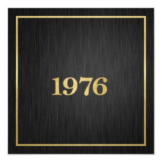 Elegantt metalliskt guld 1976 fyrkantigt 13,3 cm inbjudningskort
