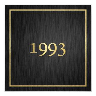 Elegantt metalliskt guld 1993 för personlig fyrkantigt 13,3 cm inbjudningskort