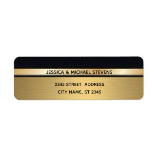 Elegantt modernt chic guld/svart bröllop returadress etikett
