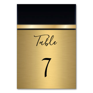 Elegantt modernt guld/svart bröllop bordsnummer