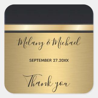 Elegantt modernt guld/svart bröllop tackar dig fyrkantigt klistermärke