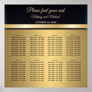 Elegantt modernt guld/svart bröllopplacering poster
