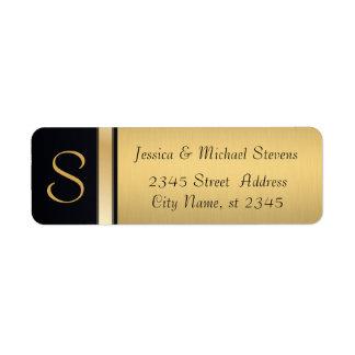 Elegantt modernt guld/svart monogrambröllop returadress etikett