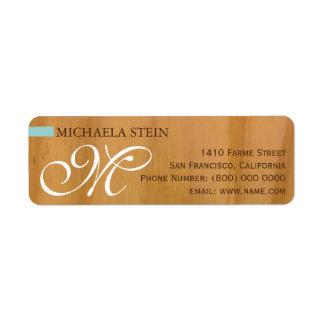 elegantt & monogrammed, trä returadress etikett
