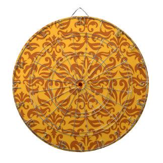 Elegantt orange blom- damastast mönster piltavla