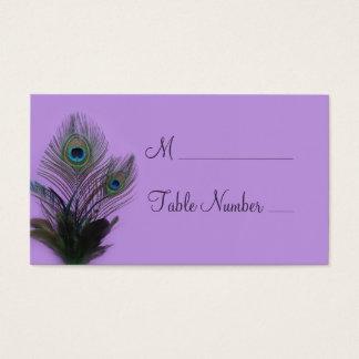 Elegantt påfågelställekort (lilor) visitkort