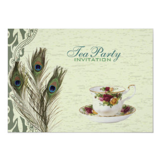elegantt party för tea för påfågel för 12,7 x 17,8 cm inbjudningskort