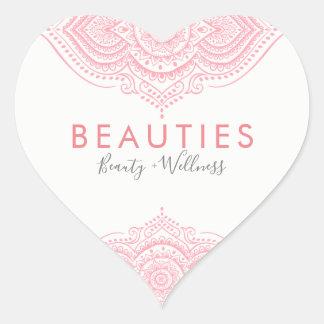 Elegantt rosa utsmyckat Paisley snöre Hjärtformat Klistermärke