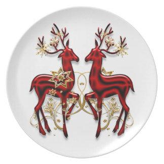 Elegantt rött guld för julren tallrik