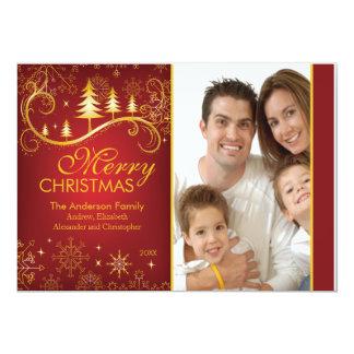 Elegantt rött guld- kort för julgranhelgdagfoto personliga tillkännagivanden