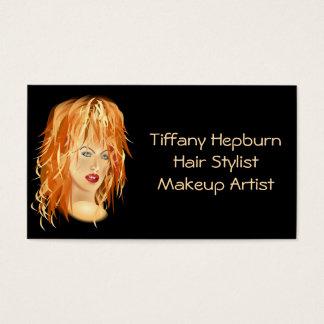 Elegantt rött huvud för hårstylistCosmetologist Visitkort