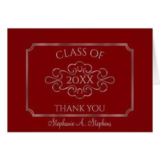 Elegantt rött tack för silverhögskolastudenten OBS kort